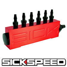 VACUUM INTAKE 6 PORT FUEL MANIFOLD TURBO GAS WASTEGATE BOOST PERFORMANCE RED P4