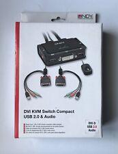 Lindy - Compact 2 Port DVI KVM Switch - KVM DVI Audio USB Switch - USB