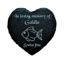 Personalised Engraved Slate Heart Pet Memorial Grave Marker Plaque Goldfish Fish