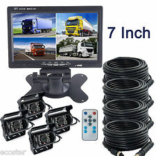 "7"" QUAD SPLIT SCREEN MONITOR BACKUP CAMERA SAFETY SYSTEM FOR TRUCK TRAILER RV"
