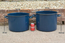 2x enamel pot heavy enamel cooking pot vintage large cooking pot - FREE POSTAGE