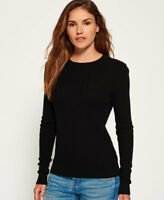 New Womens Superdry Luxe Mini Cable Jumper Black