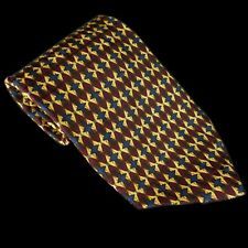 XMI Red Yellow and Blue Crosses & Diamonds Printed Silk Hand Made in the USA