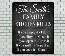 PERSONALISED BLACK CHALK STYLE FAMILY KITCHEN RULES METAL SIGN GIFT PRESENT