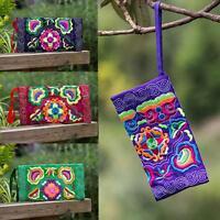 Women gift Ethnic Handmade Embroidered Wristlet Clutch Bag Vintage Purse Wallet