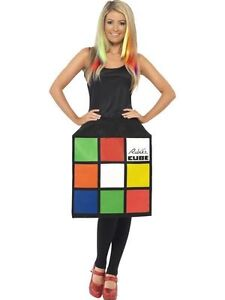 Women's 80s Licensed 3D Rubiks Cube 1980's Fancy Dress Costume Retro Rubix's Fun