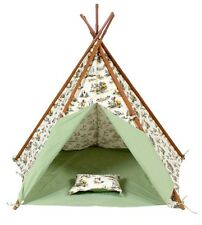 New Cowboy Indian canvas teepee outdoor garden kids  pretend play BONUS cushion