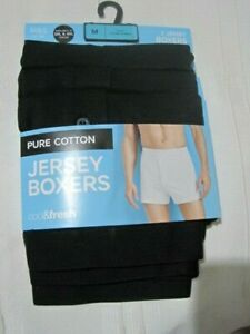 Size M New M & S 3 x Men's Cotton Jersey trunks boxers shorts button fly black