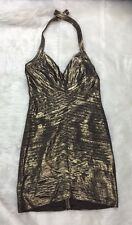 BCBG MAXAZRIA Womens Small Bronze Gold Stretchy Bandage Bodycon Dress A25