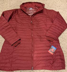 Columbia Women's Plus Long 3XL Omni Heat Red Hooded Coat Winter 3X Jacket Puffy