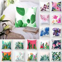 "18"" Cotton Linen Cactus Flower Throw Pillow Case Sofa Waist Cushion Cover 34CA"