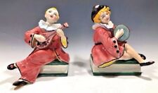 Unique! Art Pottery Musician Pierrot Figurines Signed Tri AAA Torino Italy