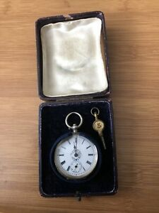 Antique Continental Silver Ladies Fob Watch With Key and Velvet Lined Box