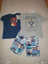 8 slim Gap Kids Boys Plaid Flat Front Shorts Adjustable Waist 2 tops Nwt