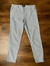 Next 12R vertical striped blue and cream ladies trousers