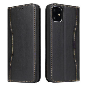 Fierre Shann Genuine Leather Flip Wallet Case Cover Stand for iPhone 11 Pro Max