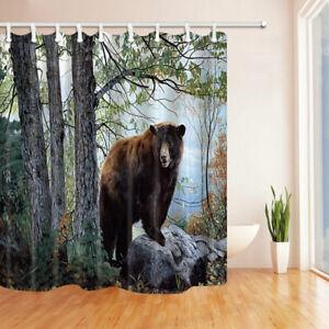 "Brown Bear In Forest Bathroom ShowerCurtainSet Waterproof Fabric&12Hooks71"""