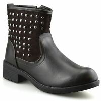 Ladies Womens Mid Block Heel Zip Up Studded Ankle Cowboy Biker Boots Shoes Size