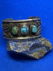 Vintage Sterling Silver & Turquoise Native American Cuff Bracelet