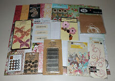 Vintage Paper & Embellishment Lot - Tim Holtz, Kaisercraft, Prima, Recollections