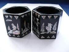 A Pair Of Antique Japanese Black Laquer & M.O.P. Napkin Rings