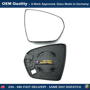 Heated Wing Mirror Glass with base For Peugeot 3008 FITS To 2017 to 2020, RHS