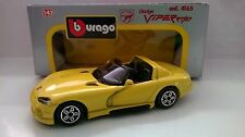 BURAGO 1:43 DIE CAST MADE IN ITALY DODGE VIPER RT/10 GIALLO ART 4165