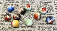 "Lot Of 10 Vintage ""Vitro Agate"" *METALLIC* Marbles ""ALL REDS"" *MINT*"