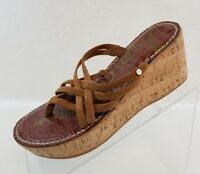 Sam Edelman Sandals Randy Wedge Platform Strappy Womens Brown Leather Shoes 7.5M
