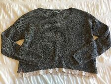 Urban Outfitters Kimchi Blue Women's Medium Knit Crop Sweater Black White