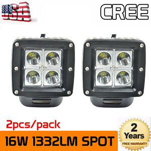 """2X 3""""inch 16W LED Work Light Cube Pods Spot Truck Offroad SUV ATV Driving Ford"""