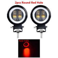 2X 20W 3inch Spot Round LED Work Light Offroad Fog Driving DRL SUV ATV Red Halo