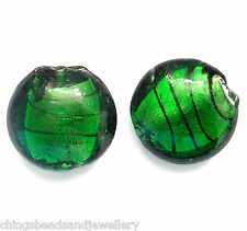 20 Green Silver Foiled Glass 20mm Disc Beads
