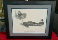 Walker Bud Mahurin P 47 Fighter Ace WWII Korea Lithograph Framed Matted 24+ Vic.