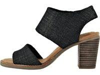 TOMS Majorca Cutout Women's Black Foil Woven High Heel Sandals