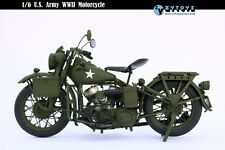 1:6 ZY TOYS Die-cast Plastic WWII US Army Harley Davidson Motorcycle