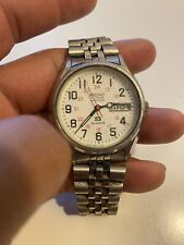 Vintage Seiko Railroad Approved SQ Day Date Stainless Steel Men's Quartz Watch