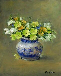 Original Oil Painting Marjorie Wilson  'Early Spring Flowers'