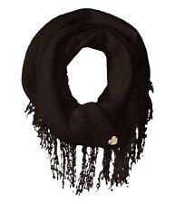 Betsey Johnson Fuzzy Logic Infinity Loop Tassel Fringe Cowl Scarf Black #6397