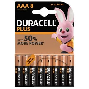 Duracell Plus AAA LR03 Batteries   8 Pack