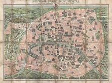 Carte de géographie illustrée Antique Paris Garnier Grand Poster Art Print bb4461a