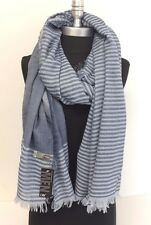 Light-weight woven Stripe and solid w/ Fringe Men Long Scarf Wrap, Blues Soft