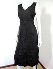 LANDS'END SLEEVELESS 100% LINEN DRESS SIZE 4 SOLID BLACK V NECKLINE
