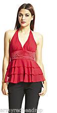 BCBG MAX AZRIA Red Silk Halter Top Ruffle Hem Lined Blouse L NWT