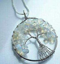 GEM STONES TREE OF LIFE HEALING SPIRITUAL NECKLACE 22 INCH BLUE WHITE LACE STONE