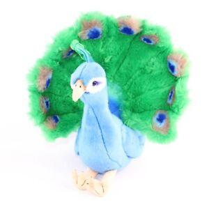 "FAO Schwarz Plush Peacock Bird 2013 Blue Green Stuffed Animal 14"""