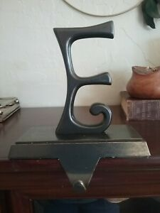 Pottery Barn Christmas Stocking Holder Hanger Hook Initial Letter E Bronze Metal