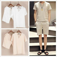 Men Chinese Ethnic T-shirt+Shorts Linen Cotton Costume Kung Fu Casual Suit Zsell