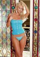 Dreamgirl Stretch Lace & Microfiber Lace Up Cami and Thong, Blue or Pink