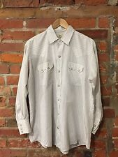AUTHENTIC VINTAGE WESTERN SHIRT DEE CEE BRAND USA WHITE STRIPE (w49) SIZE XL-XXL